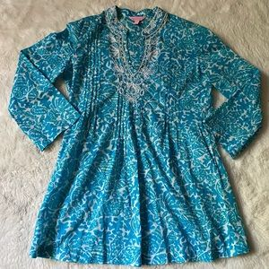 Lilly Pulitzer Blue Beaded Tunic Top Blouse sz S